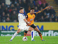 Leicester City's Marcin Wasilewski vies for possession with Hull City's Chuba Akpom <br /> <br /> Photographer Chris Vaughan/CameraSport<br /> <br /> Football - Capital One Cup Round 4 - Hull City v Leicester City - Tuesday 27th October 2015 - Kingston Communications Stadium - Hull<br />  <br /> © CameraSport - 43 Linden Ave. Countesthorpe. Leicester. England. LE8 5PG - Tel: +44 (0) 116 277 4147 - admin@camerasport.com - www.camerasport.com