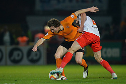 Wolves midfielder Kevin McDonald  and Stevenage's midfielder John Mousinho compete for the ball  - Photo mandatory by-line: Mitchell Gunn/JMP - Tel: Mobile: 07966 386802 01/04/2014 - SPORT - FOOTBALL - Broadhall Way - Stevenage - Stevenage v Wolverhampton Wanderers - League One