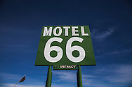 The Motel 66 in Barstow, CA.<br /> U.S. Route 66, also known as the Mother Road, in the Mojave desert of California. The two major connector cites in the Mojave desert are Barstow and Amboy. U.S. Route 66 was the first major east west highway for the US, starting in Chicago, Il and ending in Santa Monica, CA. The 2,448 mile long highway was built in November 11,1926. Most of Route 66 has been decommissioned, but there are several parts that are now historically preserved.