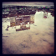 An Instagram of a puddle on the field during a rain delay at Target Field in Minneapolis, Minnesota.