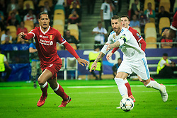 Virgil Van Dijk of Liverpool vs Sergio Ramos of Real Madrid in action during the UEFA Champions League final football match between Liverpool and Real Madrid at the Olympic Stadium in Kiev, Ukraine on May 26, 2018.Photo by Sandi Fiser / Sportida