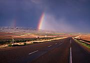 Rainbow over Interstate 90 west of Bozeman, Montana.