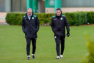 Hibernian FC assistant head coach, John Potter and Hibernian FC manager, Jack Ross make their way to the pitches before the training session at Hibernian Training Centre, Ormiston, Scotland on 27 November 2020, ahead of their Betfred Cup match against Dundee.