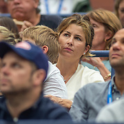 2019 US Open Tennis Tournament- Day Three. Mirka Federer, wife of Roger Federer of Switzerland with one of their twin sons watching him in action in action against Damir Dzumhur of Bosnia and Herzegovina in the Men's Singles Round Two match on Arthur Ashe Stadium at the 2019 US Open Tennis Tournament at the USTA Billie Jean King National Tennis Center on August 27th, 2019 in Flushing, Queens, New York City.  (Photo by Tim Clayton/Corbis via Getty Images)