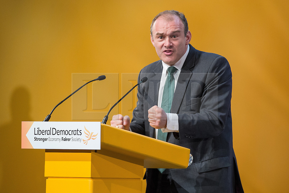 © Licensed to London News Pictures . 07/10/2014 . Glasgow , UK . ED DAVEY , MP for Kingston and Surbiton and Secretary of State for Energy and Climate Change , delivers his speech to the conference . The Liberal Democrat Party Conference 2014 at the Scottish Exhibition and Conference Centre in Glasgow . Photo credit : Joel Goodman/LNP