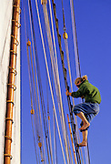 USA, Penobscot Bay, Maine, SAILING, Schooner, Climbing rigging