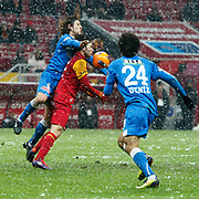 Galatasaray's Selcuk Inan (C) during their Turkish Super League soccer match Galatasaray between MP Antalyaspor at the TT Arena Stadium at Seyrantepe in Istanbul Turkey on Saturday 01 February 2012. Photo by TURKPIX