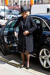 © Licensed to London News Pictures. 03/05/2016. LONDON, UK.  CAMILLA DUCHESS OF CORNWALL arrives at a service of Thanksgiving for the life and work of former Chancellor of the Exchequer, Rt Hon The Lord Geoffrey Howe of Aberavon CH PC QC at St Margaret's Church, Westminster Abbey.  Photo credit: Vickie Flores/LNP