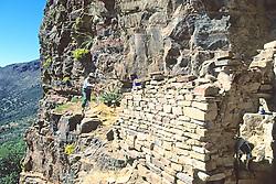 Leslie Jahnke Measuring Cliff Dwelling With Richard Lang, Mustang Ridge, Apache Reservation