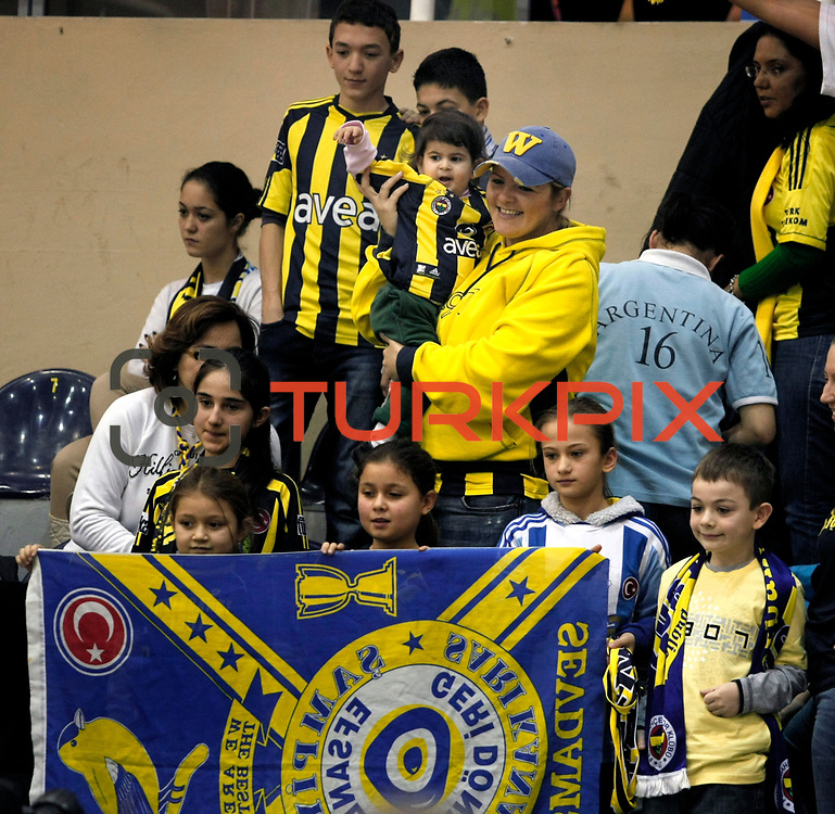 Fenerbahce Ulker's supporters during their Turkish Basketball league derby match  Fenerbahce Ulker between Anadolu Efes at Caferaga Sports Hall in Istanbul, Turkey, Saturday 01, 2012. Photo by TURKPIX