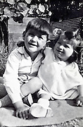 vintage portrait of brother and sister posing France