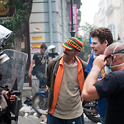Protestors talking to riot policeman in Karagiorgi Servias street near Syntagma  (Constitution) square during the protests in Athens against the  unpopular austerity measures, June 29, 2011