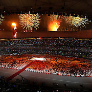 Fireworks exploded over the Beijing Olympic Stadium during the opening ceremonies of the 2008 Summer Olympic Games in Beijing, China. (photo by David Eulitt / MCT)