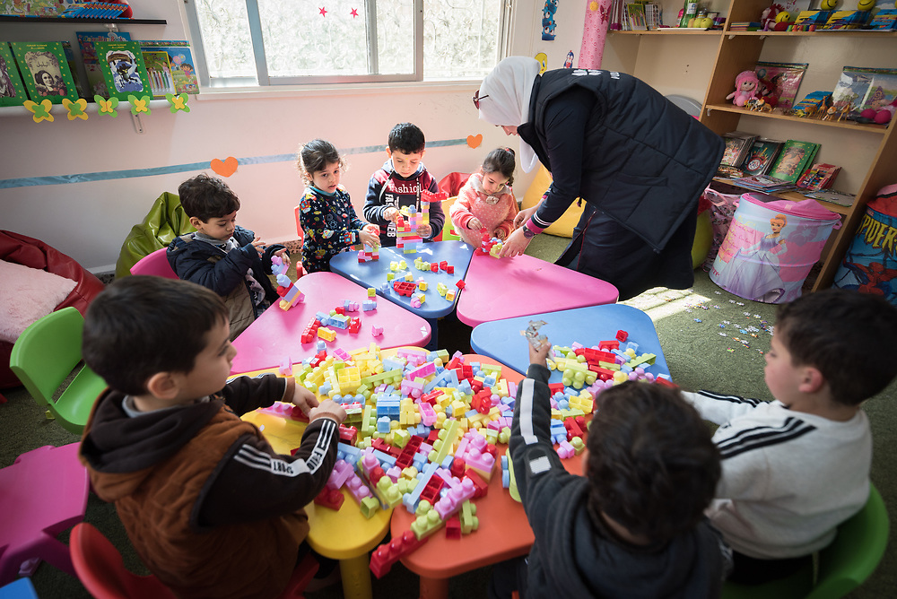 17 February 2020, Zarqa, Jordan: Children play in 'the nanny room' at the Lutheran World Federation community centre in Zarqa. Through a variety of activities, the Lutheran World Federation community centre in Zarqa serves to offer psychosocial support and strengthen social cohesion between Syrian, Iraqi and other refugees in Jordan and their host communities.