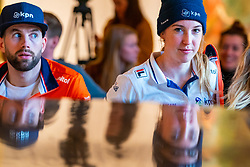 Daan Breeuwsma, Lara van Ruijven during the press conference for ISU World Cup Finals Shorttrack 2020 on February 12, 2020 in Museum Dordrecht.