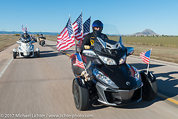 Don Breidenbach, Spearfish, US Army vet and Spearfish Chapter 164 American Legion Rider on his CanAm Spyder for the USS South Dakota submarine flag relay from Sturgis to Aberdeen on day one. SD. USA. Saturday October 7, 2017. Photography ©2017 Michael Lichter.