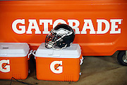 A Philadelphia Eagles helmet sits on a sideline sports drink cooler during the NFL week 11 regular season football game against the Green Bay Packers on Sunday, Nov. 16, 2014 in Green Bay, Wis. The Packers won the game 53-20. ©Paul Anthony Spinelli