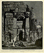 Engraving on Wood of South Wing of the Portico of the Great Temple<br />  Ba'albek [Baalbek] Lebanon from Picturesque Palestine, Sinai and Egypt by Wilson, Charles William, Sir, 1836-1905; Lane-Poole, Stanley, 1854-1931 Volume 2. Published in New York by D. Appleton in 1881-1884