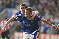 Photo: Pete Lorence.<br />Leicester City v Southampton. Coca Cola Championship. 14/10/2006.<br />Richard Stearman celebrates, after taking Leicester into a 3-2 lead.