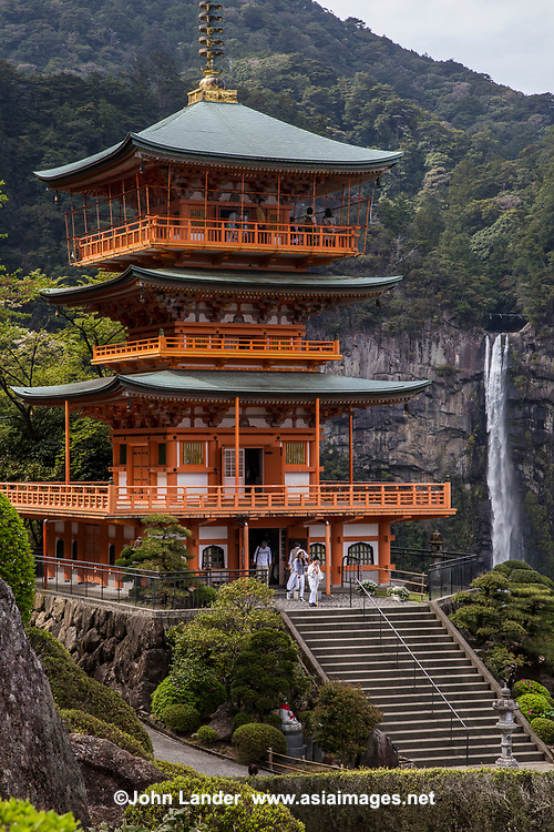 55. Seiganto-ji Temple and Nachi Falls 那智滝 - Temple of the Blue Waves was built next to Nachi Waterfall - a site of nature worship. Seiganto-ji is an important part of the Kumano Sanzan complex. It is the first stop along the Kumano Pilgrimage Trail, although these days those who follow the hiking trails are not so apt to follow the exact order of the stops along the way.  Nachi Falls is the largest in Japan at 436 metres