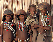 Africa, Ethiopia, Omo valley, Young children of the Arbore tribe with calebasse