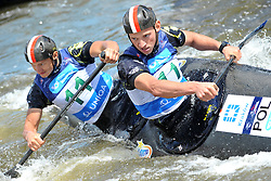 June 2, 2018 - Prague, Czech Republic - Filip and Andrej Brzezinskii of Poland in action during the Men's C2 finals at the European Canoe Slalom Championships 2018 at Troja water canal in Prague, Czech Republic, 02 June 2018. (Credit Image: © Slavek Ruta via ZUMA Wire)