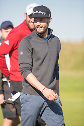 Jamie Dornan after playing the first hole.  Alfred Dunhill Links Championship this morning at Championship Course at Carnoustie.