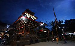 KATHMANDU, Sept. 14, 2016 (Xinhua) -- Photo taken on Sept. 13, 2016 shows the erection of the wooden pole ''Indradhwoj'' at Hanumandhoka Durbar Square on the first day of Indrajatra Festival in Kathmandu, Nepal. Nepalese celebrate the Indrajatra Festival to worship ''Indra'', the King of Gods according to the Hindu myth. (Xinhua/Sunil Sharma).****Authorized by ytfs* (Credit Image: © Sunil Sharma/Xinhua via ZUMA Wire)