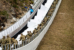 Soldiers helping organisers during Ski Flying Hill Men's Team Competition at Day 3 of FIS Ski Jumping World Cup Final 2017, on March 25, 2017 in Planica, Slovenia. Photo by Vid Ponikvar / Sportida