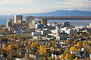 Early autumn snows on the top of Sleeping Lady Mt Susitna on the shores of Cook Inlet with  Anchorage the largest city in Alaska. Population 275000,000