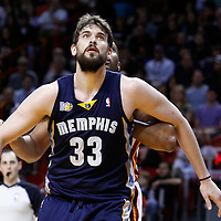 12 March 2011: Memphis Grizzlies center Marc Gasol (33) is seen during the Miami Heat 118-85 victory over the Memphis Grizzlies at the AmericanAirlines Arena, Miami, Florida, USA. **