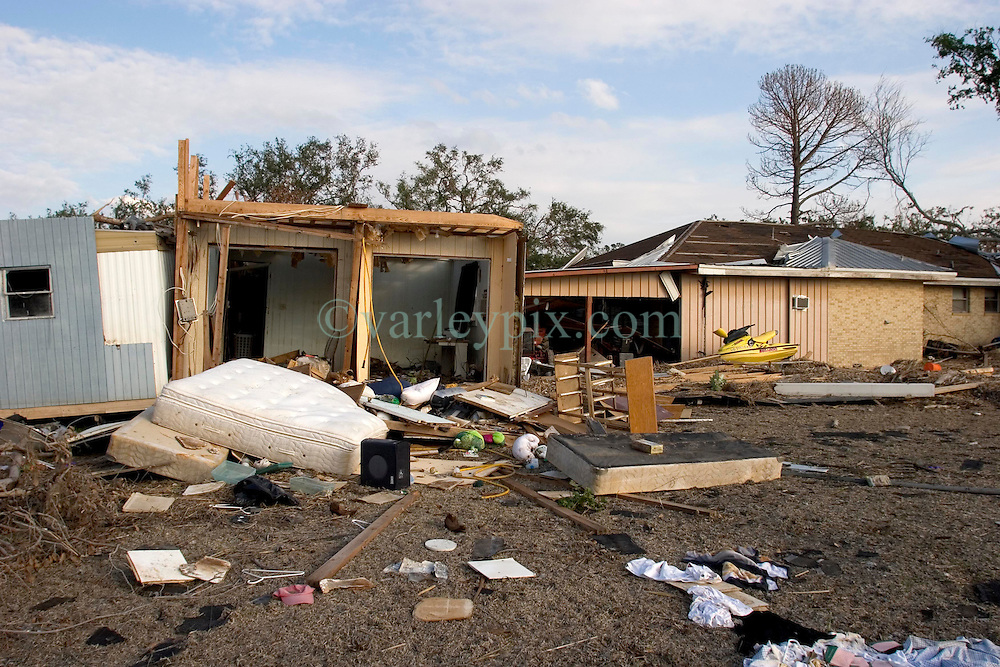 03 November, 2005. New Orleans, Louisiana.  Post Katrina.<br /> The remains of debris strewn Oak Grove trailer park in Saint Bernard parish just south of New Orleans. Hurricane Katrina caused a 20ft tidal surge to sweep over the land, devastating much of the parish.<br /> Photo; ©Charlie Varley/varleypix.com