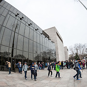 Visitors line up to visit the Smithsonian National Air and Space Museum on the National Mall in Washington DC. The Air and Space Museum is one of the world's most-visited museums and houses planes and spacecraft from the flight and space age.