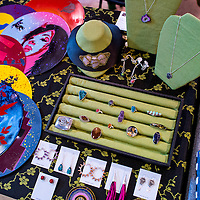111513       Cable Hoover<br /> <br /> Old records and other recycled materials make up a display of jewelry and other crafts during the Recycled Arts & Crafts Show at the Gallup Community Service Center Saturday.