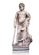 """Statue of Esculape or Asclepius - a second century AD Roman sculpture. Asclepius represents the healing aspect of the medical arts, his daughters included Hygieia, """"Hygiene"""" the goddess/personification of health, cleanliness, and sanitation as well as Iaso, the goddess of recuperation from illness and Aceso the goddess of the healing process.  The Albani Collection, Inv No.  Ma 929, Louvre Museum, Paris. .<br /> <br /> If you prefer to buy from our ALAMY STOCK LIBRARY page at https://www.alamy.com/portfolio/paul-williams-funkystock/greco-roman-sculptures.html- Type -    Louvre    - into LOWER SEARCH WITHIN GALLERY box - Refine search by adding a subject, place, background colour,etc.<br /> <br /> Visit our CLASSICAL WORLD HISTORIC SITES PHOTO COLLECTIONS for more photos to download or buy as wall art prints https://funkystock.photoshelter.com/gallery-collection/The-Romans-Art-Artefacts-Antiquities-Historic-Sites-Pictures-Images/C0000r2uLJJo9_s0c .<br /> <br /> If you prefer to buy from our ALAMY STOCK LIBRARY page at https://www.alamy.com/portfolio/paul-williams-funkystock/greco-roman-sculptures.html- Type -    Louvre    - into LOWER SEARCH WITHIN GALLERY box - Refine search by adding a subject, place, background colour,etc.<br /> <br /> Visit our CLASSICAL WORLD HISTORIC SITES PHOTO COLLECTIONS for more photos to download or buy as wall art prints https://funkystock.photoshelter.com/gallery-collection/The-Romans-Art-Artefacts-Antiquities-Historic-Sites-Pictures-Images/C0000r2uLJJo9_s0c"""