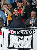 Football - 2016 / 2017 Championship - Cardiff City vs. Newcastle United<br /> <br /> 'taxi for penfold' banner depicting Penfold behind bars in newcastle fans end of ground , at Cardiff City Stadium.<br /> <br /> COLORSPORT/WINSTON BYNORTH