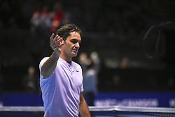 November 16, 2017 - London, England, United Kingdom - Roger Federer of Switzerland celebrates victory in his Singles match against Marin Cilic of Croatia during day five of the Nitto ATP World Tour Finals at O2 Arena on November 16, 2017 in London, England. (Credit Image: © Alberto Pezzali/NurPhoto via ZUMA Press)