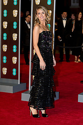 © Licensed to London News Pictures. 18/02/2018. CRESSIDA BONAS arrives on the red carpet for the EE British Academy Film Awards 2018, held at the Royal Albert Hall, London, UK. Photo credit: Ray Tang/LNP