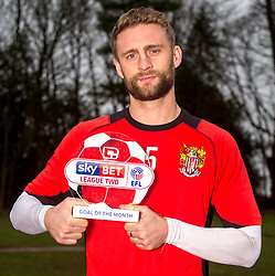 Fraser Franks of Stevenage receives the Sky Bet League Two Goal of the Month award for December- Mandatory by-line: Robbie Stephenson/JMP - 12/01/2017 - FOOTBALL - Stevenage FC Training Ground - Stevenage, England - Sky Bet League Two Goal of the Month
