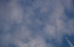 THEMENBILD - ein Flugzeug (Easyjet, Airbus A320, OE-IVN) hinterlässt Kondensstreifen am woligem Himmel, aufgenommen am 24. Juni 2018 in Porec, Kroatien // an airplane (Easyjet, Airbus A320, OE-IVN) leaves contrails in the cloudy sky, Porec, Croatia on 2018/06/24. EXPA Pictures © 2018, PhotoCredit: EXPA/ JFK