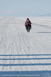 Computer engineer for work, super bike racer for fun, Katya (Ekaterina Kolpakova) on Mashka, her Yamaha r3 racer at the Baikal Mile Ice Speed Festival. Maksimiha, Siberia, Russia. Friday, February 28, 2020. Photography ©2020 Michael Lichter.