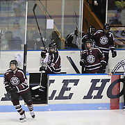 Union College players take to the ice during the Yale Vs Union College, Men's College Ice Hockey game at Ingalls Rink, New Haven, Connecticut, USA. 28th February 2014. Photo Tim Clayton