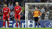 Photo: Paul Thomas.<br /> Porto v Liverpool. UEFA Champions League Group A. 18/09/2007.<br /> <br /> Pepe Reina (R) of Liverpool is beaten in a penalty by Lucho Gonzalez (Out of picture) and shows his dejection.