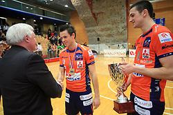 Mayor of Nova Gorica Mirko Brulc, Matija Plesko and Mitja Gasparini at finals of Slovenian volleyball cup between OK ACH Volley and OK Salonit Anhovo Kanal, on December 27, 2008, in Nova Gorica, Slovenia. ACH Volley won 3:2.(Photo by Vid Ponikvar / SportIda).