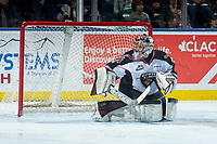 KELOWNA, CANADA - MARCH 18: Trent Miner #31 of the Vancouver Giants makes a save against the Kelowna Rockets  on March 1, 2018 at Prospera Place in Kelowna, British Columbia, Canada.  (Photo by Marissa Baecker/Shoot the Breeze)  *** Local Caption ***