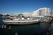 Darling Harbour. South Steyne former passenger ship serving as a function centre. Hotel Ibis Grand Mercure.
