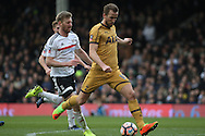 Harry Kane of Tottenham Hotspur (R) shoots and scores his and his teams third goal to complete his hat-trick. . The Emirates FA Cup, 5th round match, Fulham v Tottenham Hotspur at Craven Cottage in London on Sunday 19th February 2017.<br /> pic by Steffan Bowen, Andrew Orchard sports photography.