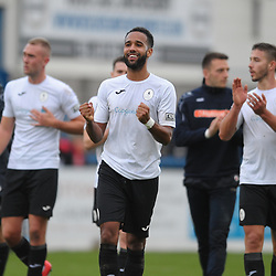 TELFORD COPYRIGHT MIKE SHERIDAN Brendon Daniels of Telford celebrates at full time during the Vanarama National League Conference North fixture between AFC Telford United and Guiseley on Saturday, October 19, 2019.<br /> <br /> Picture credit: Mike Sheridan/Ultrapress<br /> <br /> MS201920-026