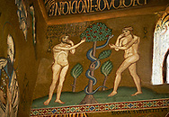 Medieval Byzantine style mosaics of the story of Adam & Eve eating fruit from tree,  the Palatine Chapel, Cappella Palatina, Palermo, Italy .<br /> <br /> If you prefer you can also buy from our ALAMY PHOTO LIBRARY  Collection visit : https://www.alamy.com/portfolio/paul-williams-funkystock/byzantine-art-antiquities.html . Type -    Palatine     - into the LOWER SEARCH WITHIN GALLERY box. Refine search by adding background colour, place, museum etc<br /> <br /> Visit our BYZANTINE MOSAIC PHOTO COLLECTION for more   photos  to download or buy as prints https://funkystock.photoshelter.com/gallery-collection/Roman-Byzantine-Art-Artefacts-Antiquities-Historic-Sites-Pictures-Images-of/C0000lW_87AclrOk