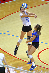 23 November 2017:  Kyla Inderski and Kylee Macke set up for the incoming ball during a college women's volleyball match between the Drake Bulldogs and the Indiana State Sycamores in the Missouri Valley Conference Tournament at Redbird Arena in Normal IL (Photo by Alan Look)